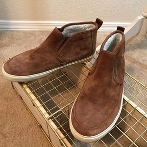 Vans brown suede mid top with shearling